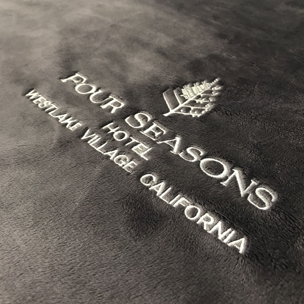 Four Seasons Hotel Embroidery on Minky Fabric for Eloise Pet Accessories