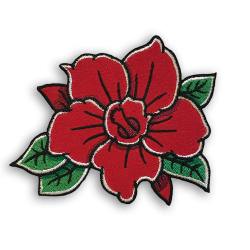 Red Flower Iron-On Embroidered Patch